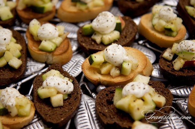 Apple and Zucchini Crostini with Goat Cheese and Black Pepper