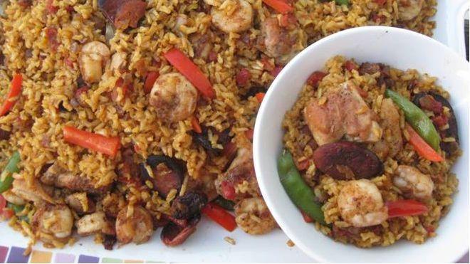 Brown Rice Chicken, Chorizo and Shrimp Paella Recipe