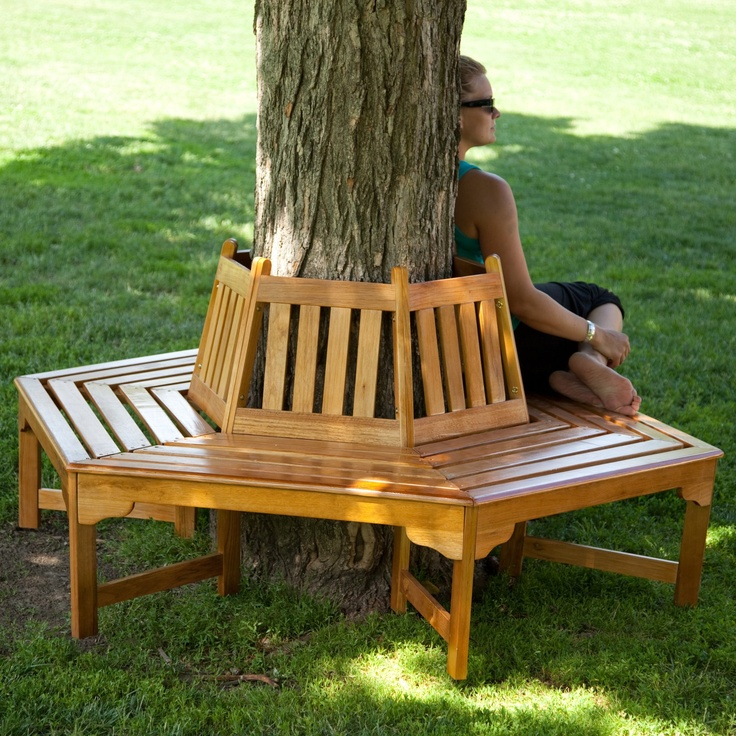 Coral Coast Fillmore Wood Outdoor Hexagonal Tree Bench Www