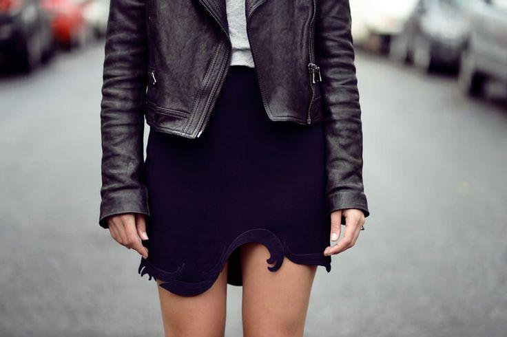 Proenza Schouler leather jacket, Grey tee, Stella McCartney skirt.