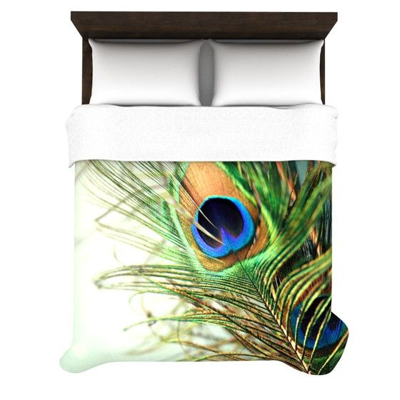 Sylvia Cook  quot Teal Peacock Feather quot  Duvet Cover    169 from Kess    Peacock Feather Comforter