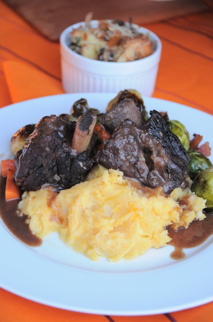 ... Pomegranate Braised Short Ribs, Savory Bread Pudding, and Roasted