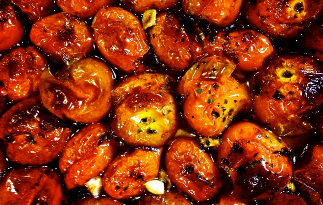Oven roasted cherry tomatoes with balsamic plus tomato, olive and ...
