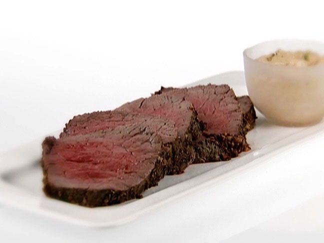 Roasted Beef Tenderloin with Basil-Curry Mayonnaise from FoodNetwork.com