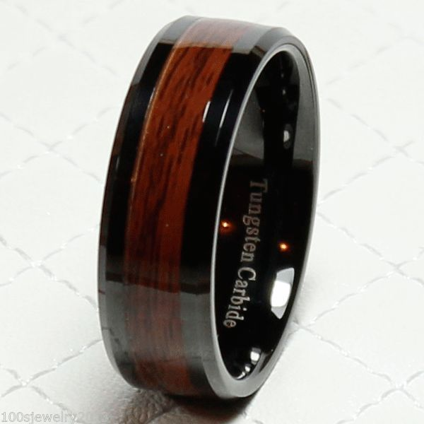 8mm Men's Tungsten Carbide Red Wood Inlay Black Plat Wedding Band Ring ...