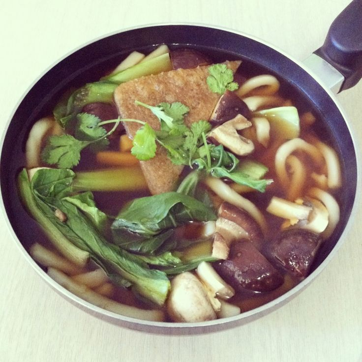 ... noodles in shoyu soup with bokchoy, shitake mushrooms, and sweet tofu