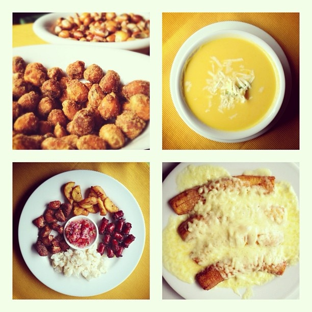 ... nuts, potato/corn soup, assorted meats and fried plantains with cheese