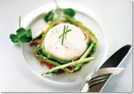 Savory buttermilk panna cotta with vinaigrette and muscadine reduction