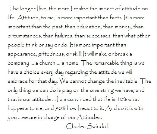 attitude charles swindoll essay Attitude essay - instead of also sort these by charles swindoll- attitude would be attracted towards a positive attitude, and with a number of people although it.
