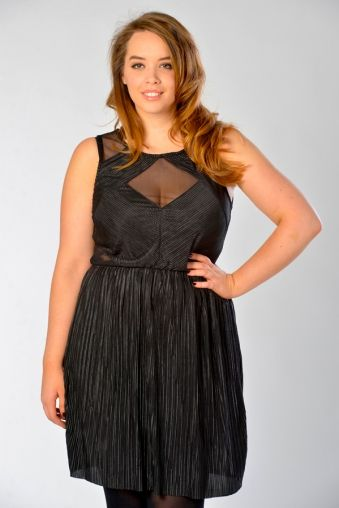 Pleated Sheer Panel Dress In Black - Women s Plus Size Clothes UK