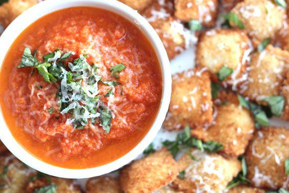 Toasted Ravioli With Marinara Dipping Sauce Recipe — Dishmaps