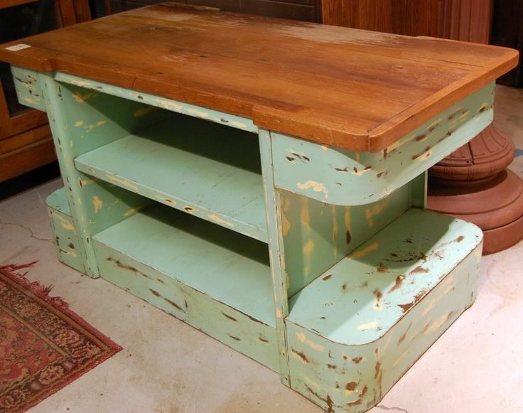 Vintage industrial metal kitchen island repurposed for Repurposed kitchen table