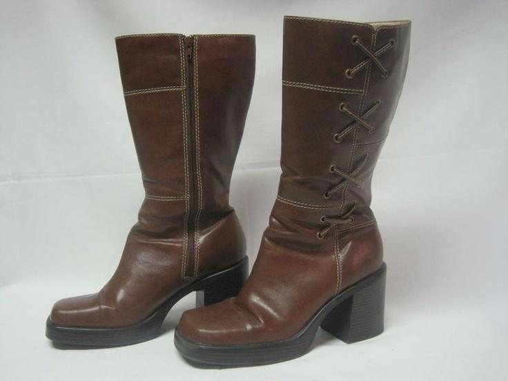 Lower East Side Women's Heel Brown Knee High Zipper Boots Sz 10 SOLD