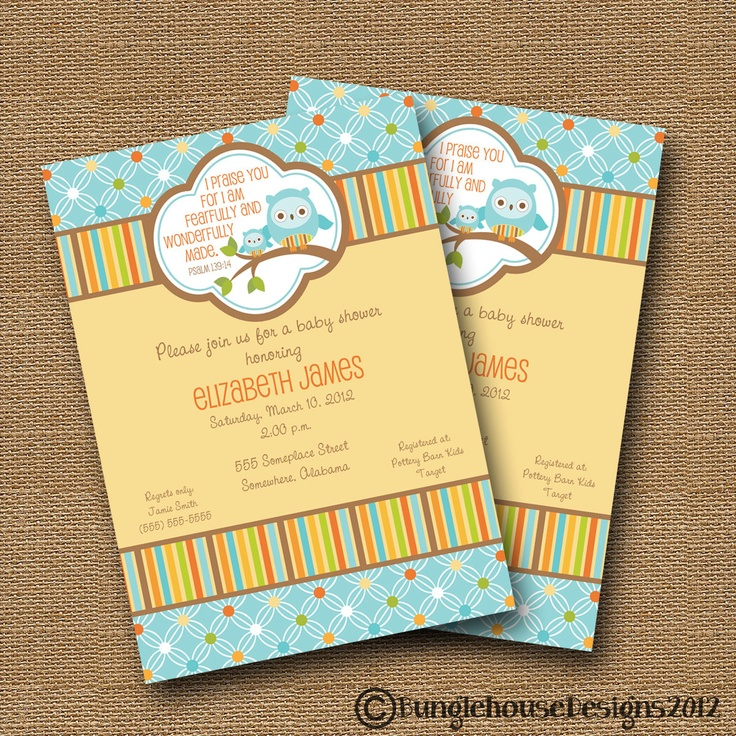 owl baby shower invitation diy printable baby boy christian scripture
