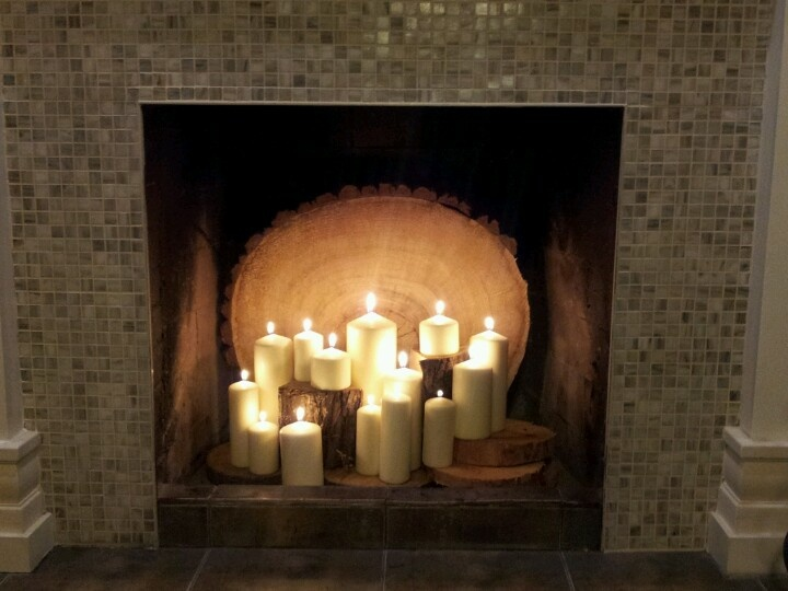 candles in the fireplace home ideas pinterest