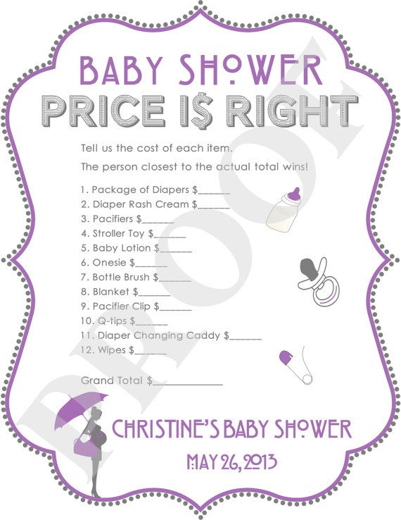 baby shower games templates free price is right baby shower game