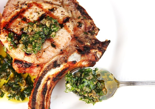 Grilled Brined Pork Chops with Caper and Parsley Salsa Verde