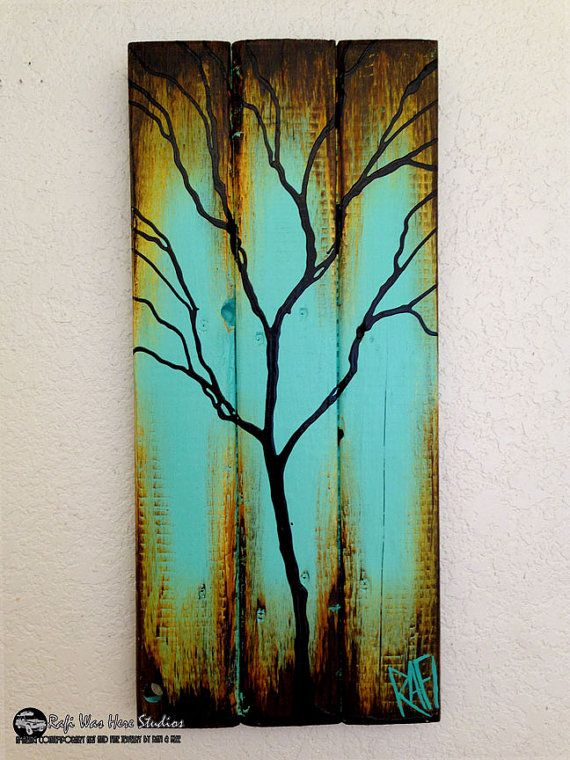 Original abstract tree painting on reclaimed wood blue for Mural art on wood
