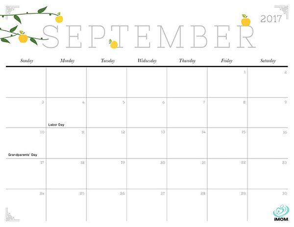 2017 September Calendar Pretty – September printable calendars