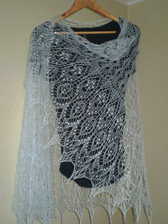 Pale Blue semi circular hand knitted merino cobweb wedding ...