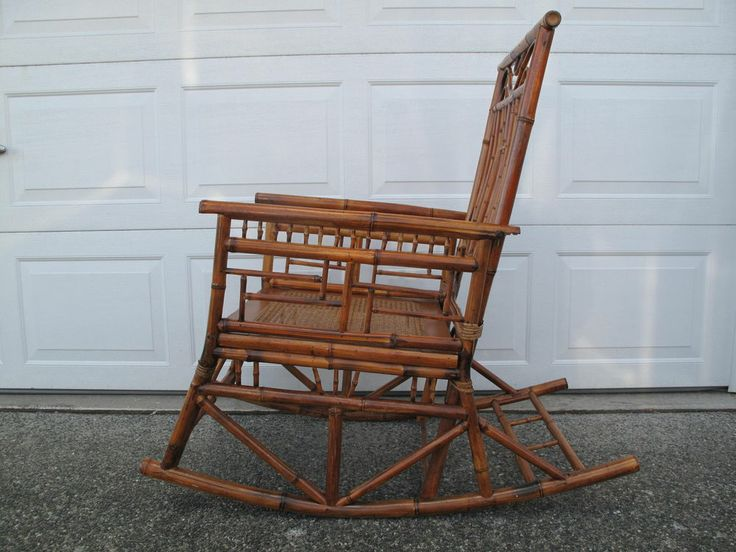 ... Rare Chinese Antique Bamboo Rocking Chair Circa Late 1800 ~ Early 1900