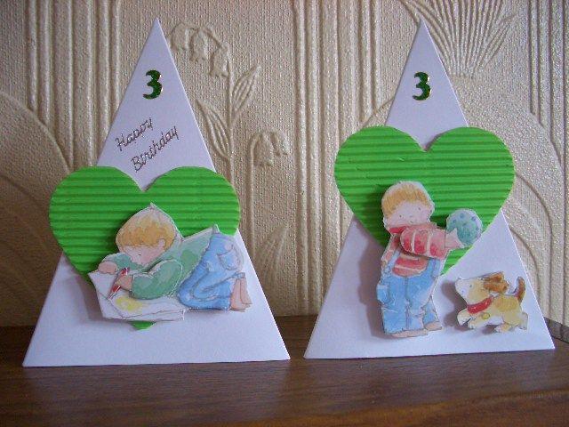 3rd Birthday Pyramid Card For Twin Boys My Own Handmade