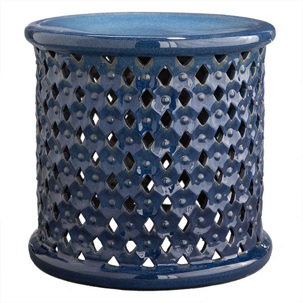 blue ceramic stool. $160