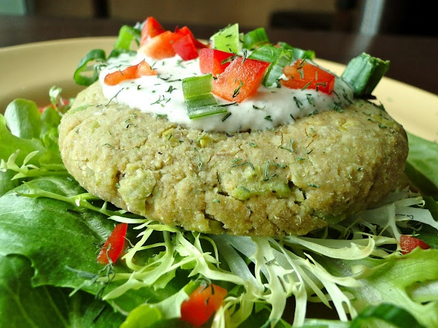 Chickpea Burger with tahini dill sauce | Healthy Foods | Pinterest