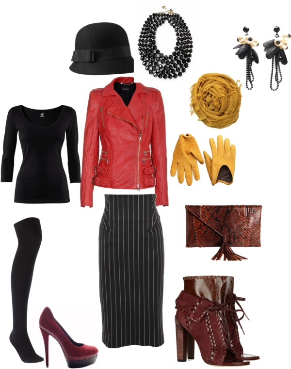 """Red Leather Jacket"" by splenderosa on Polyvore"