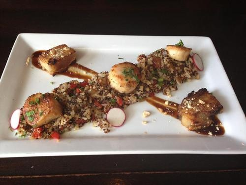 Seared Sea Scallops and crispy pork belly with quinoa fried rice ...