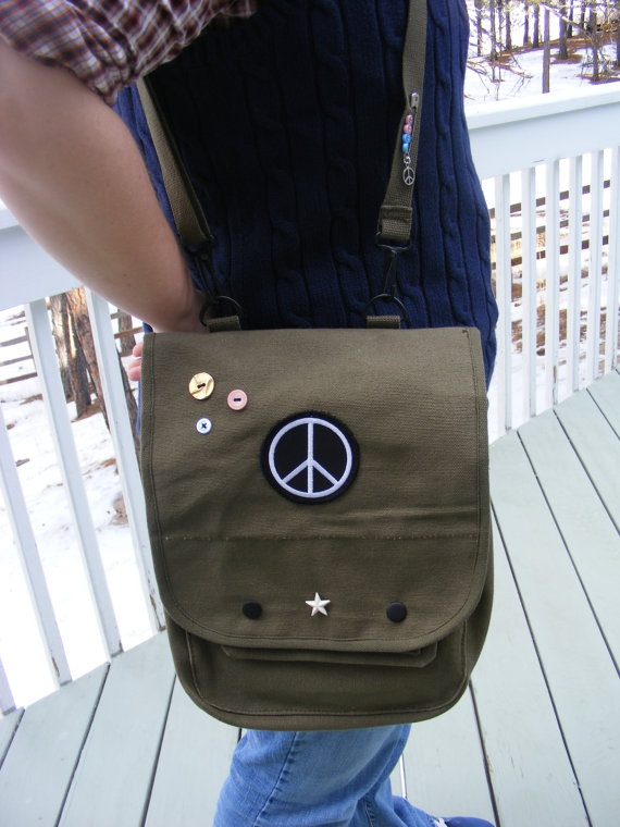 SALELadies Indie Military Messenger Peace Sign by DawnHitchcock, $38.00
