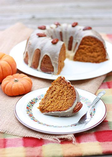 Pumpkin-Pecan Cake with Brown Sugar and Bourbon Glaze