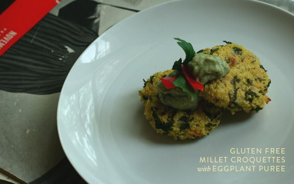 Adrienneats: Millet croquettes with eggplant puree