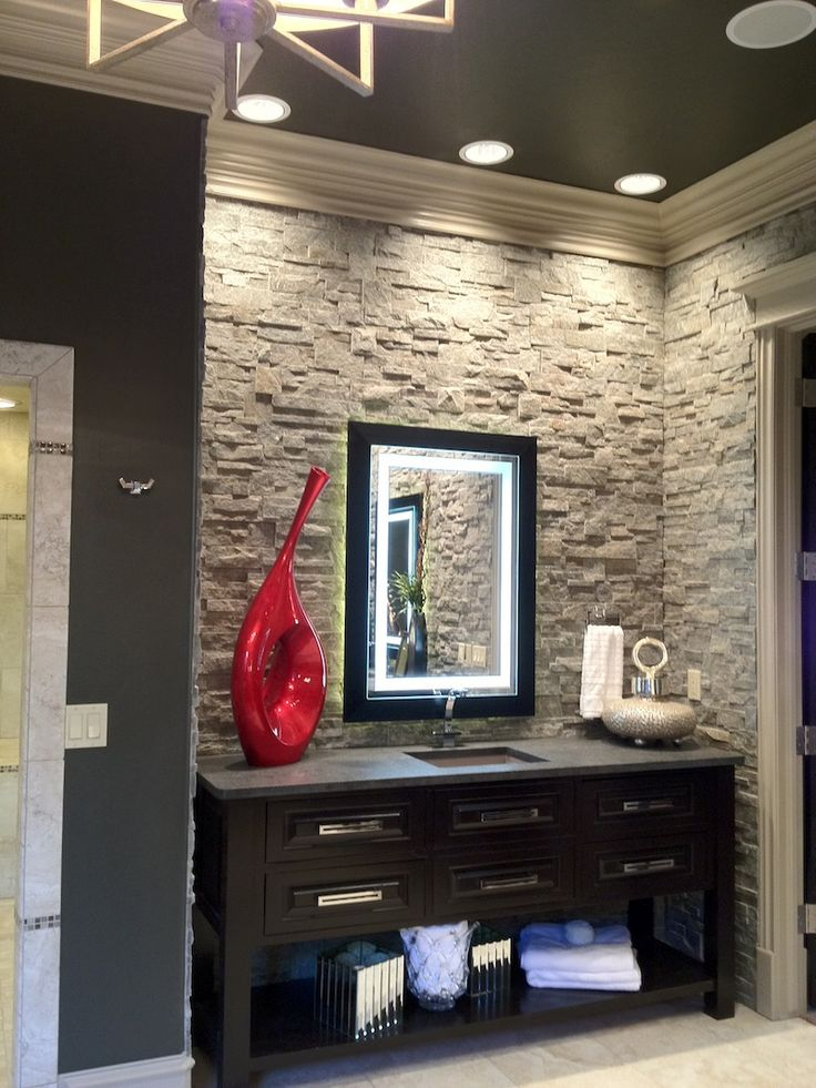 Stack stone look backsplash home sweet home pinterest for Stacked stone bathroom ideas