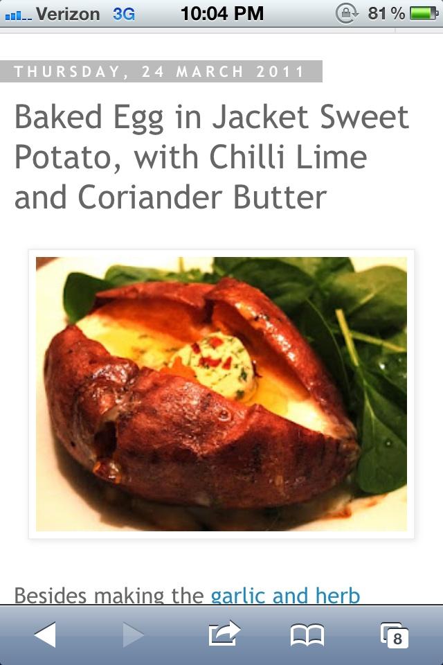 Baked sweet potato with an egg | Good Eats | Pinterest