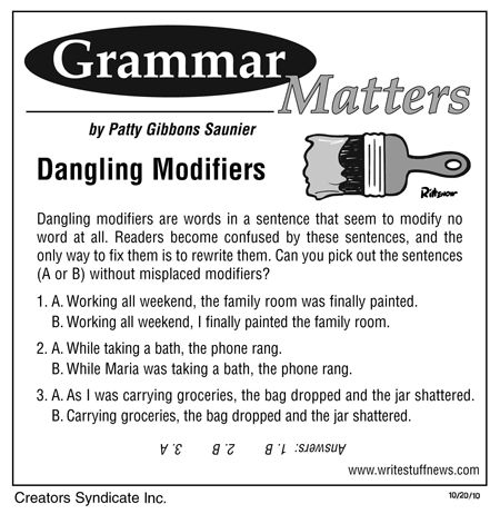 grammar modifiers Modifiers as adjectives when a modifier is an adjective , it modifies a noun or a pronoun  (in these examples, the modifiers are shaded, and the words being modified are bold.