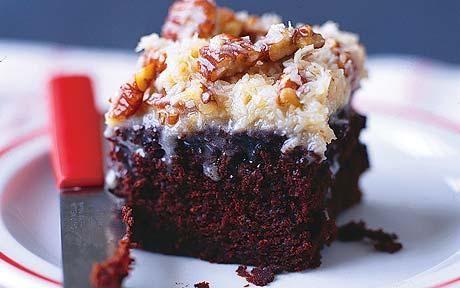 Bourbon chocolate mud cake with coconut-pecan custard