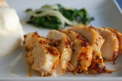 Roasted Spicy Mayo Chicken Breasts and Sauteed Spinach & Onions