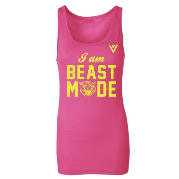 """I Am Beast"" is sweat-activated on the back of this fitness tank. Love."