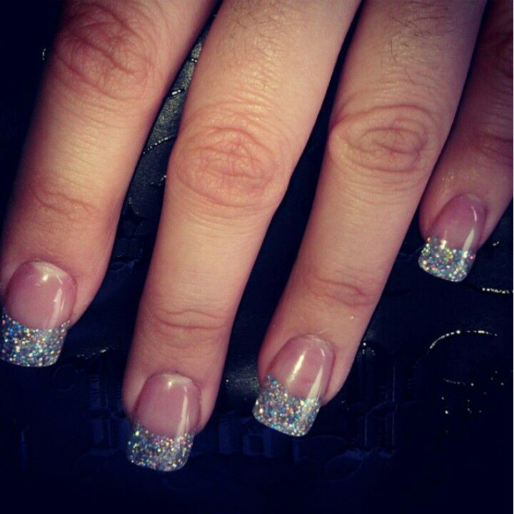 Glitter french acrylic nails | Nails! | Pinterest