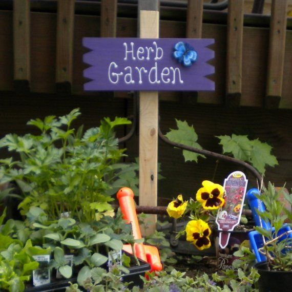 small yard sign 20 herb garden by henwithahammer on etsy