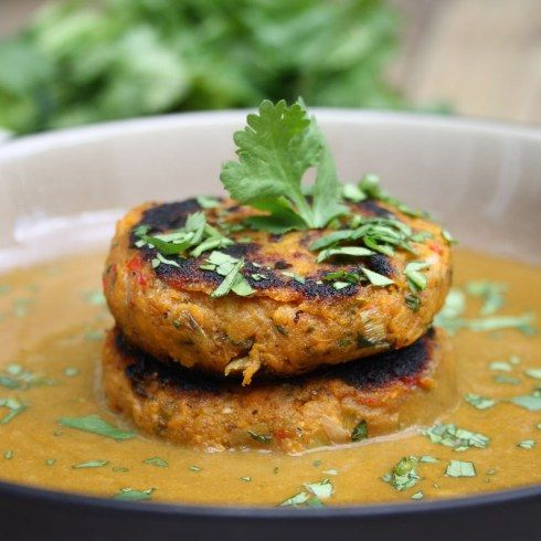 Caribbean Sweet Potato Patties with Spicy Coconut and Spinach Sauce