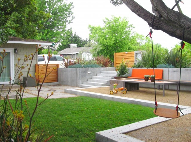 Modern Backyard Raised Concrete Edging Outdoor And 400 x 300
