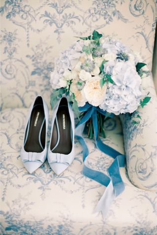 Powder blue wedding shoes and bouquet