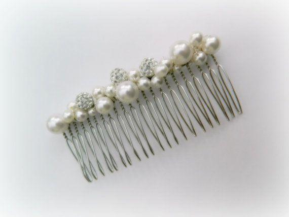 Bridal hair comb pearl amp swarovski crystal by willowpathbridal 163 14