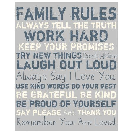 "Family Rules Canvas Art in Grey $101.95  Details Canvas wall art in grey with typographic detailing.  Product: Canvas art Construction Material: Canvas Features: Gallery wrapped giclee print Canvas is stretched around a 1.5"" stretcher bar Ready to hang Dimensions: 20"" H x 16"" W"