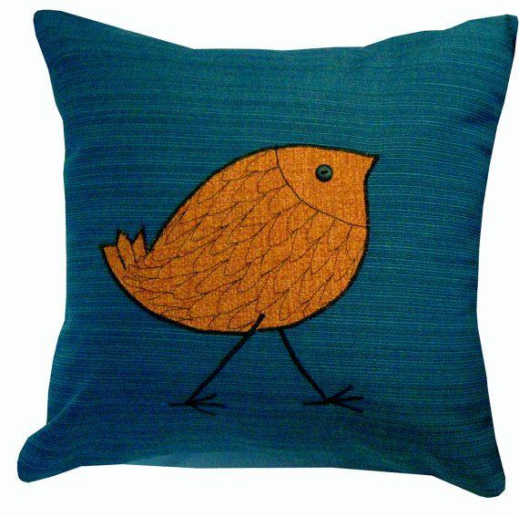 Newport Throw Pillows Birds : Teal and yellow bird pillow Future baby ideas Pinterest