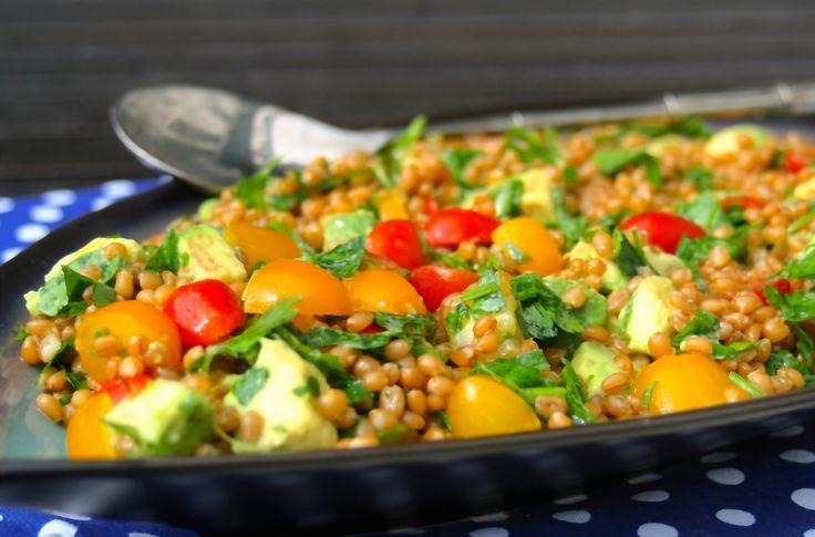 Heirloom Tomato Avocado Wheat Berry Salad - May I Have That Recipe