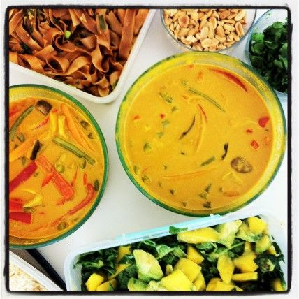 Delicious staff lunch down the hall: A Thai potluck by the Whole Living staff!