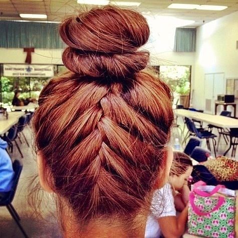 Braided double bun hairstyle